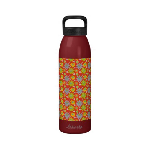 Blooming Flowers, Petals - Red Green Blue Yellow Water Bottle