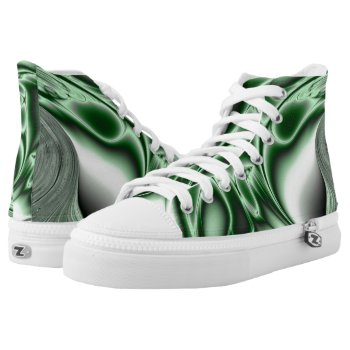 Blooming Green Fractal High-Top Sneakers