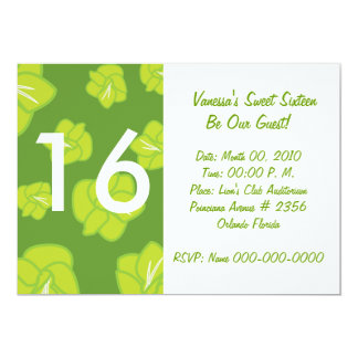 Blooming Green Sweet Sixteen Invitation-Customize Card