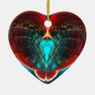 Blooming Heart Double-Sided Ceramic Round Chr Ceramic Ornament