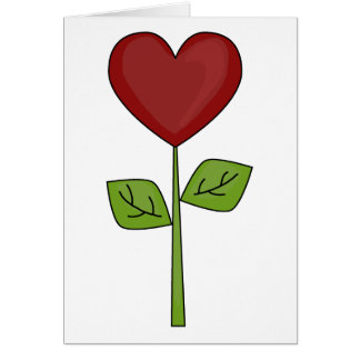 Blooming Heart Flower - Blank Card