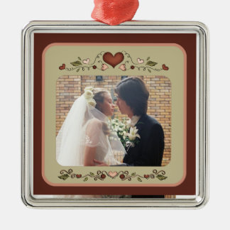 Blooming Hearts Customizable Photo Ornament