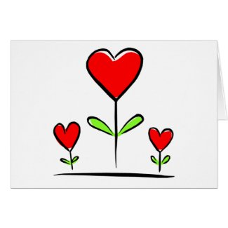 Blooming Hearts Flowers Love Heart Greeting Card