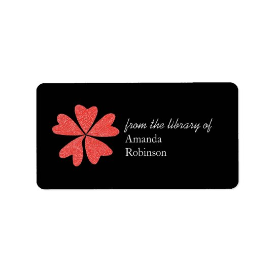 Blooming hearts personalized bookplate - black