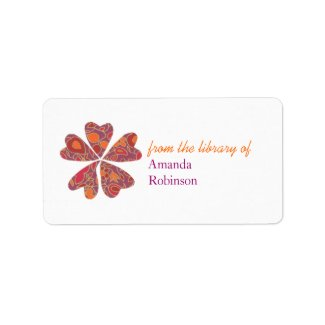 Blooming hearts personalized bookplate - purple label
