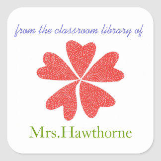 Blooming hearts personalized teacher bookplate