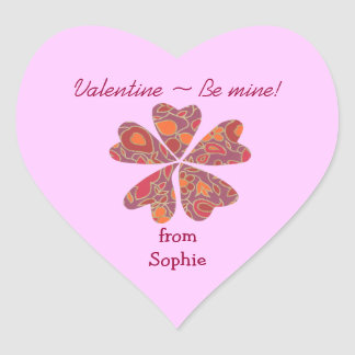 Blooming hearts personalized valentine sticker