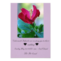Blooming Hibiscus Flower Wedding Invitation