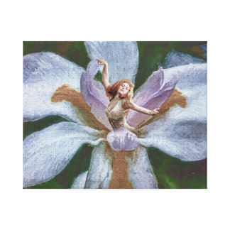 Blooming Iris and Young Lady Digital Composite Canvas Print