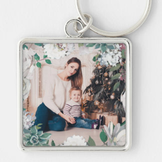 Blooming Joy Floral Christmas Photo Keychain