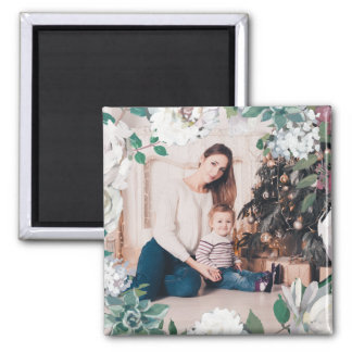 Blooming Joy Floral Christmas Photo Magnet