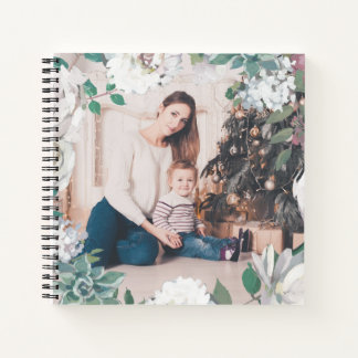Blooming Joy Floral Christmas Photo Notebook