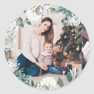 Blooming Joy Floral Christmas Photo Sticker