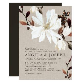 Blooming Magnolias Burlap | Brown Wedding Card
