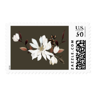 Blooming Magnolias Burlap Wedding Dark Brown Postage
