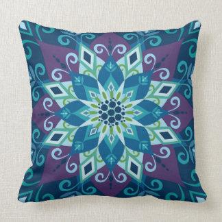 Blooming Mandala-Blue-Large Scale-Throw Pillow