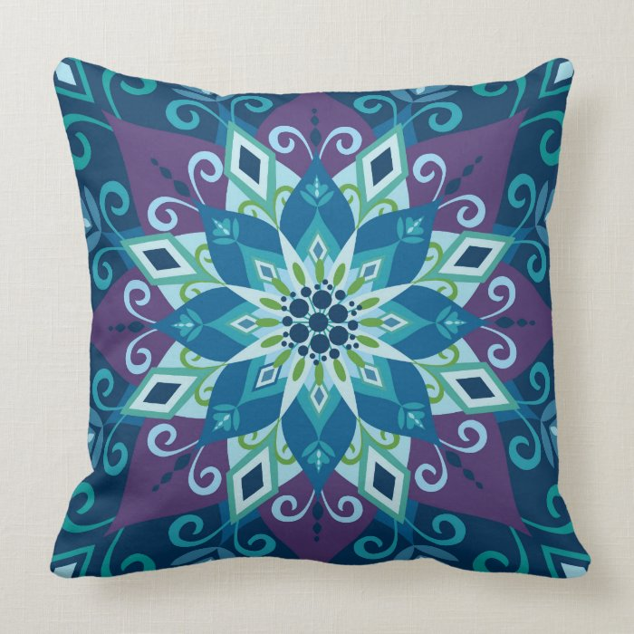 Large Blue Throw Pillows : Blooming Mandala-Blue-Large Scale-Throw Pillow Zazzle