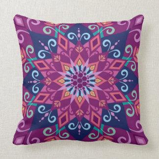Blooming Mandala-Purple-Large Scale-Throw Pillow