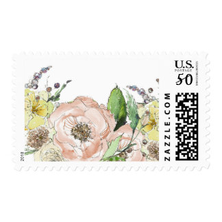 Blooming Peony and Other Florals Postage