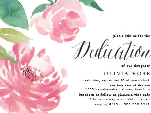 Blooming Peony Baby Dedication Invitation