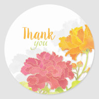 Blooming Peony Flowers Wedding Thank You Stickers