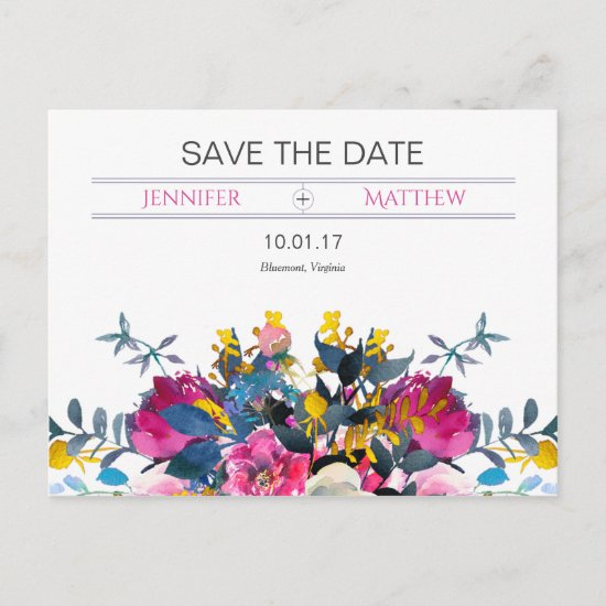 Blooming Petals Save The Date Announcement Postcard
