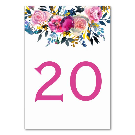Blooming Petals Watercolor Floral Table Cards