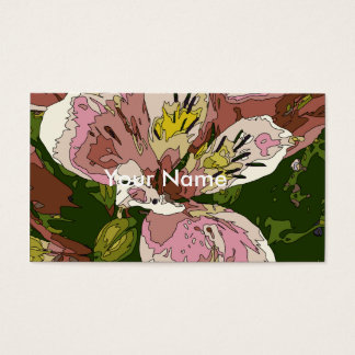 Blooming Pink Lily Flower Painting Business Card