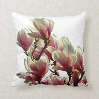 Blooming Pink Magnolia - Spring Flower Throw Pillow