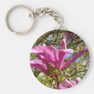 Blooming Pink Magnolia (Tulpenbaum) Basic Round Button Keychain