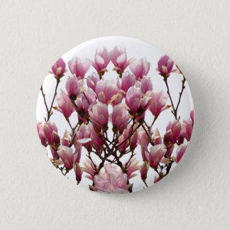 Blooming Pink Magnolias Spring Flower Pinback Button