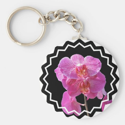 Blooming Pink Orchids Keychain