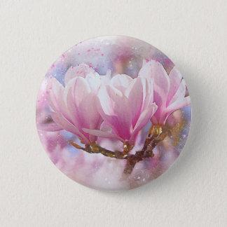 Blooming Pink Purple Magnolia - Spring Flower Pinback Button