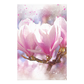Blooming Pink Purple Magnolia - Spring Flower Stationery