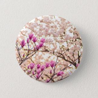 Blooming Pink Purple Magnolias Spring Flower Button