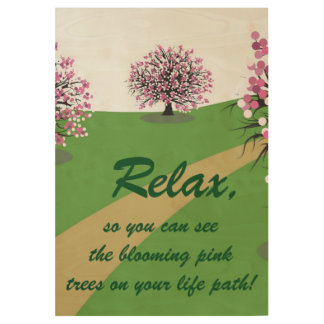 Blooming Pink Trees  Wood Poster