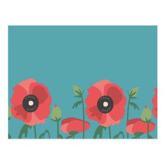 Blooming Poppy Field Print Postcard