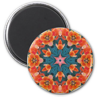 Blooming Poppy Tulips 2 Inch Round Magnet