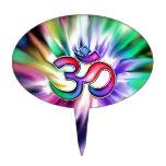 Blooming Rainbow Lotus OM Cake Topper