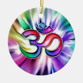 Blooming Rainbow Lotus OM Ceramic Ornament
