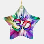 Blooming Rainbow Lotus OM Christmas Ornaments