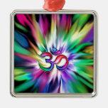 Blooming Rainbow Lotus OM Ornament