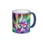 Blooming Rainbow Lotus OM Ringer Coffee Mug