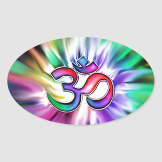Blooming Rainbow Lotus OM Oval Stickers