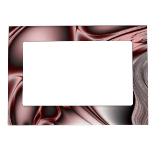 Blooming Red Fractal Picture Frame Magnet