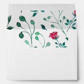 Blooming Rose Watercolor Pattern Envelope