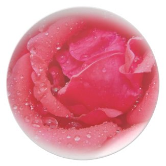 Blooming Rose with Raindrops plate