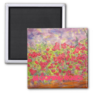 blooming roses 2 inch square magnet