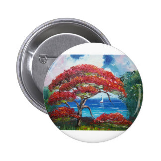 Blooming Royal Poinciana Tree and Sailboat Pinback Buttons