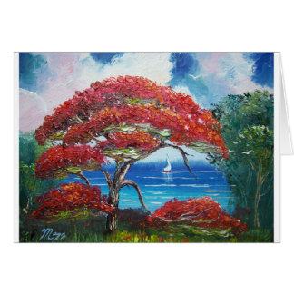 Blooming Royal Poinciana Tree and Sailboat Card